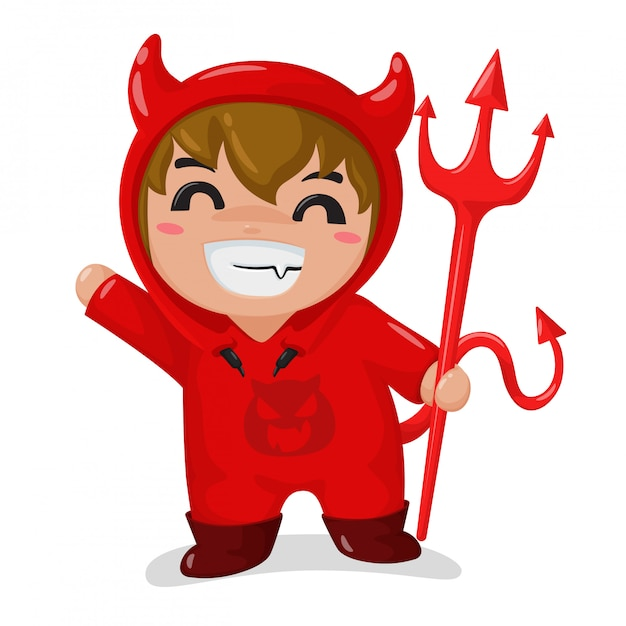 The boy wearing a red devil costume happy in the halloween party Premium Vector