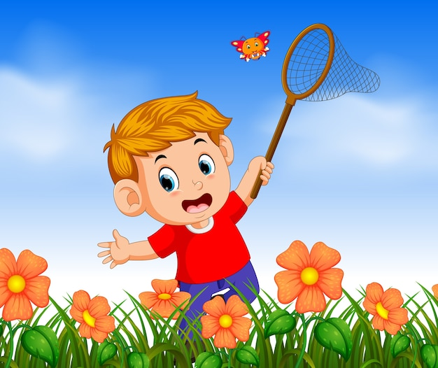 Boy wearing red shirt catching butterflyin the jungle Premium Vector