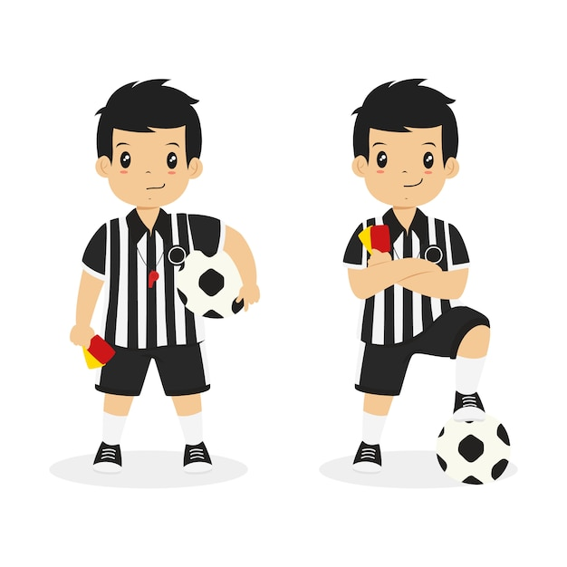 Boy wearing referee uniform, character vector. Premium Vector