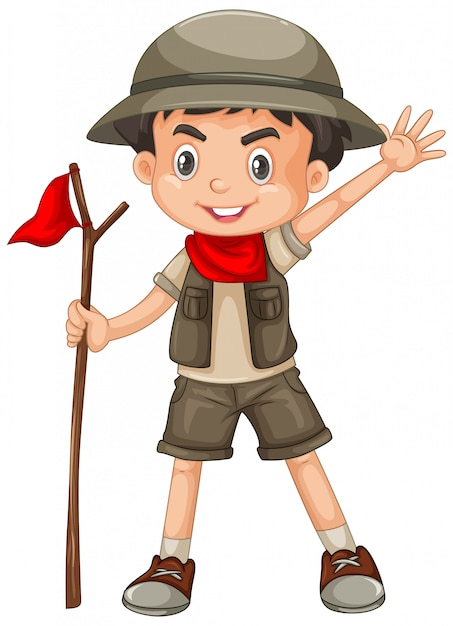Boy wearing safari outfit isolated Free Vector
