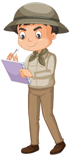 Boy wearing safari outfit on white Free Vector