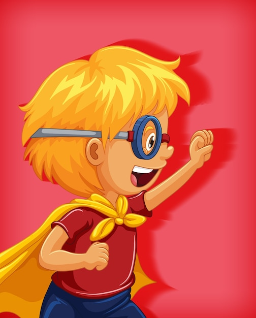 Boy wearing superhero with stranglehold position cartoon character portrait isolated Premium Vector