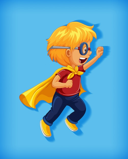 Boy wearing superhero with stranglehold in standing position cartoon character portrait Free Vector