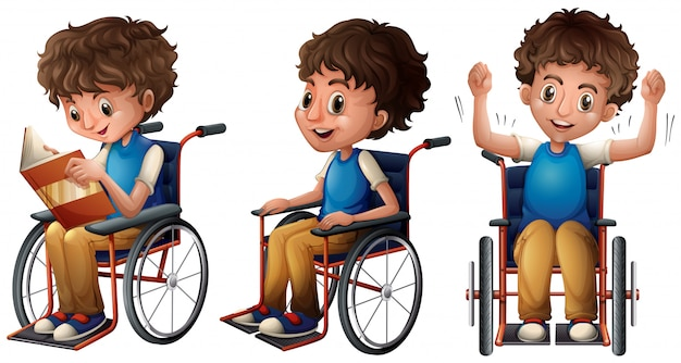 Boy in wheelchair doing three things Free Vector