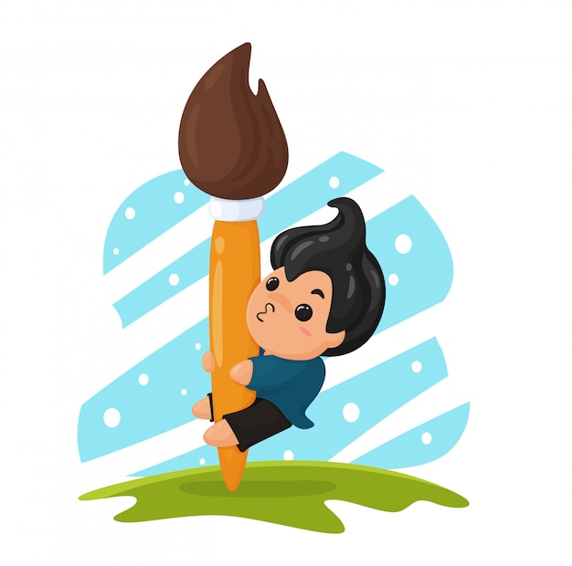 The boy who dreamed of being a painting artist is embracing a large paintbrush. Premium Vector