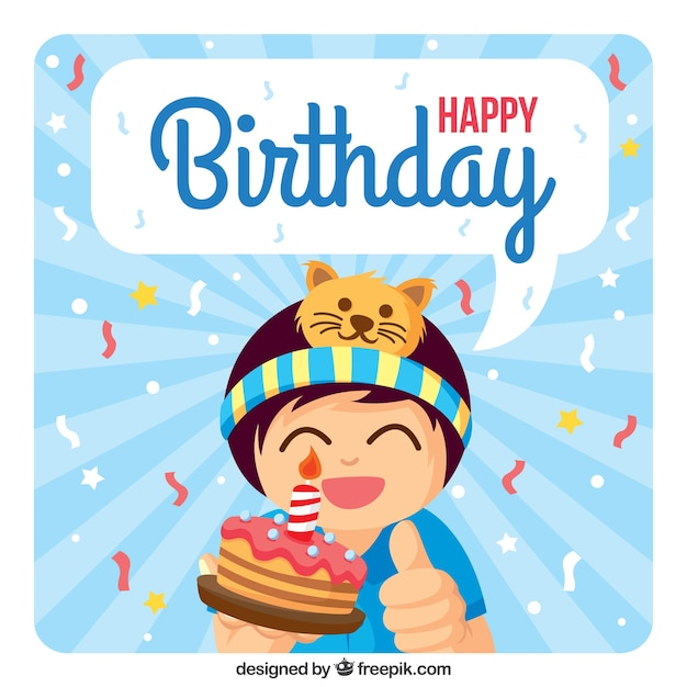 Boy with a cake happy birthday card Vector | Free Download
