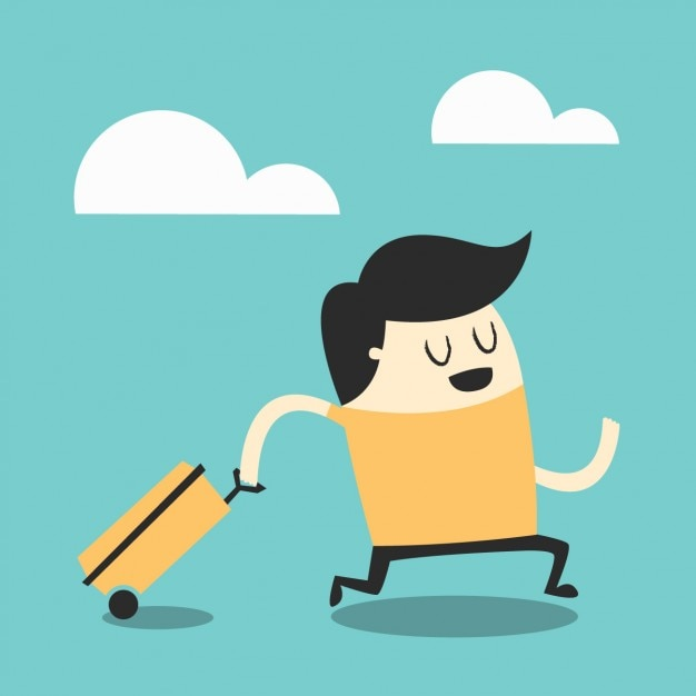 Boy with a suitcase Free Vector