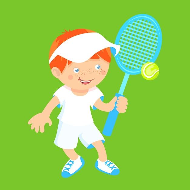 Boy with badminton racquet Free Vector
