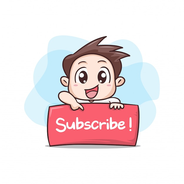 Boy with board sign subscribe illustration Premium Vector