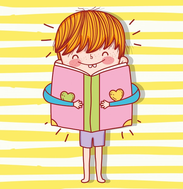 Boy with book education to event celebration Premium Vector