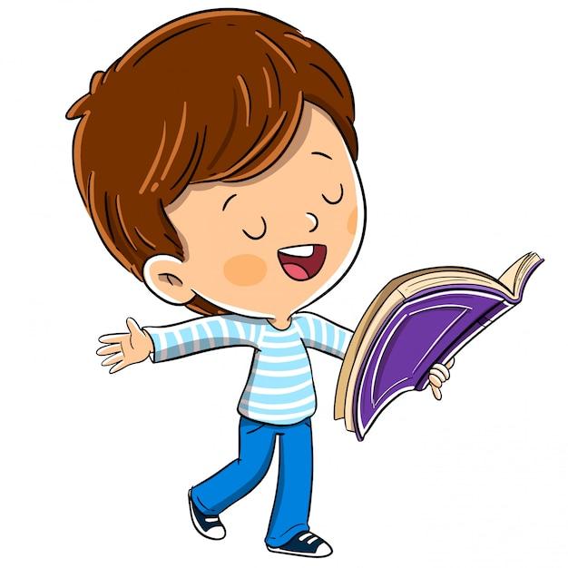 Boy with a book reading aloud Premium Vector