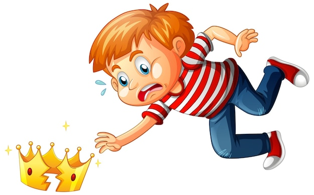 白い背景の上の壊れた王冠を持つ少年 無料ベクター