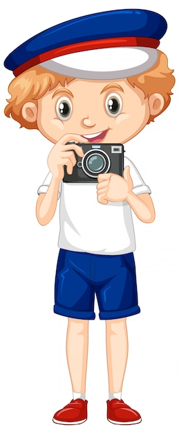 Boy with camera on white background Free Vector