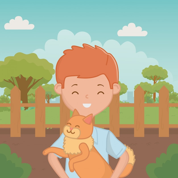 Boy with cat cartoon design Free Vector