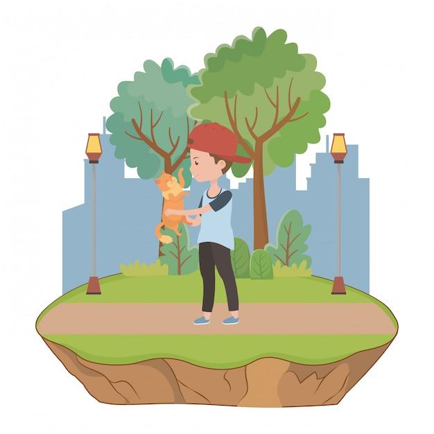 Boy with cat cartoon Free Vector