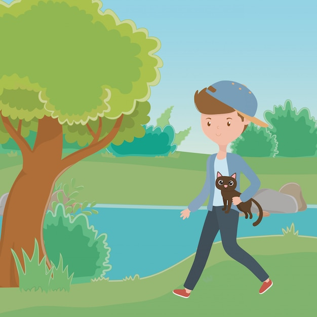 Boy with cat cartoon Free Vector