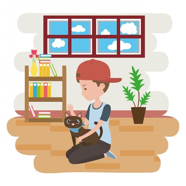 Boy with cat of cartoon Free Vector
