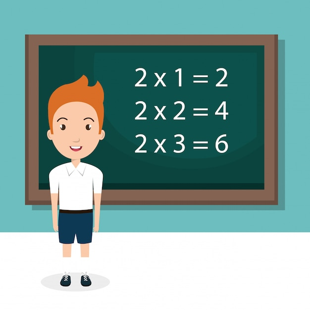 Boy with chalkboard classroom character Free Vector