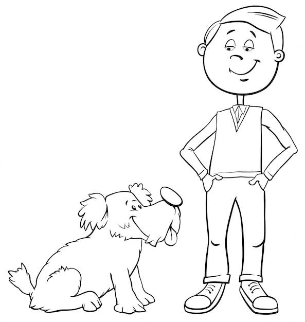 Мальчик с милой собакой раскраски Premium векторы