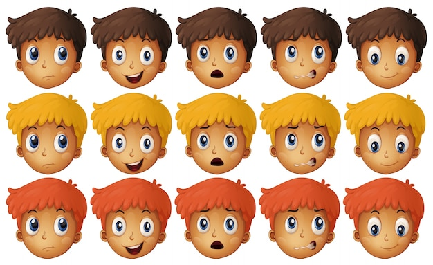 Boy with different emotions illustration