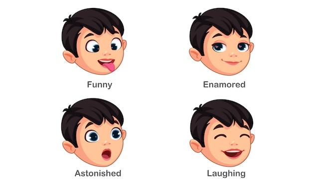 Мальчик с разными выражениями лица часть 4 Бесплатные векторы