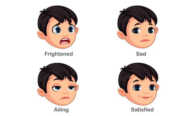 異なる表情を持つ少年 無料ベクター