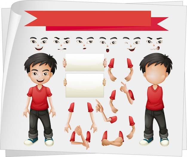 Boy with different set of faces illustration Free Vector