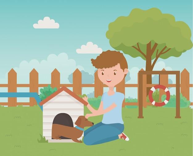 犬漫画デザインの少年 無料ベクター