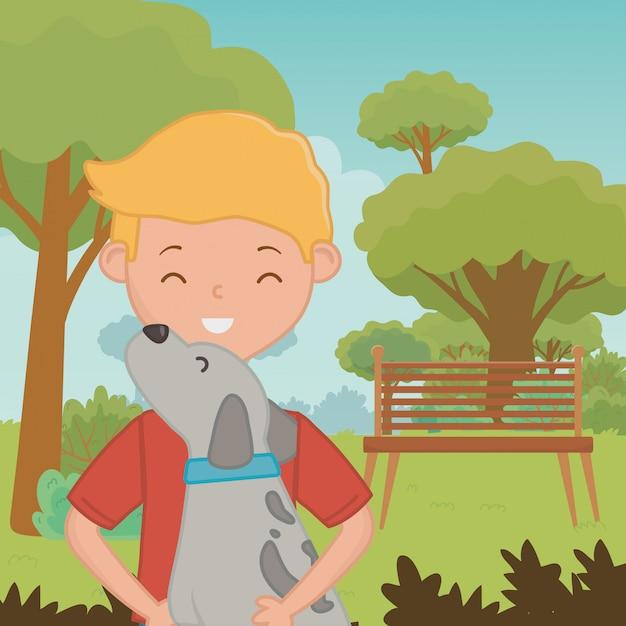 Boy with dog cartoon design Free Vector
