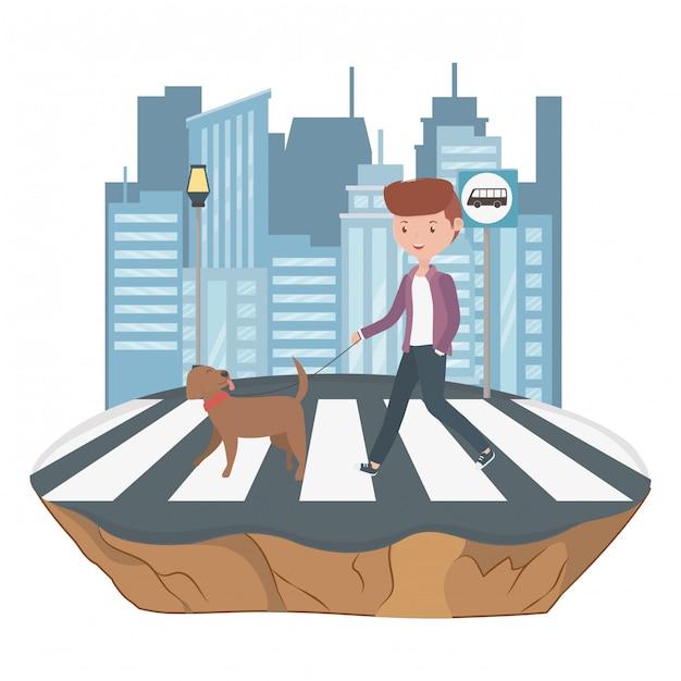 Boy with dog cartoon Free Vector