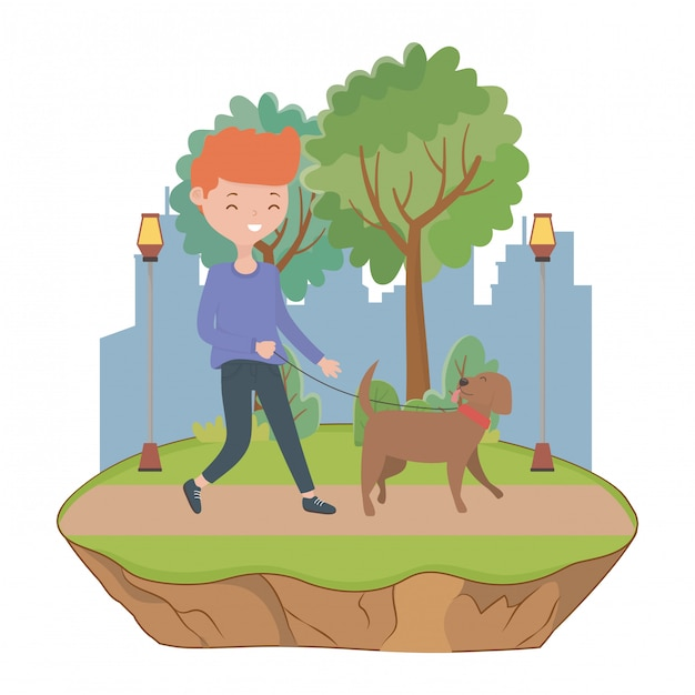 Boy with dog cartoon Free Vector