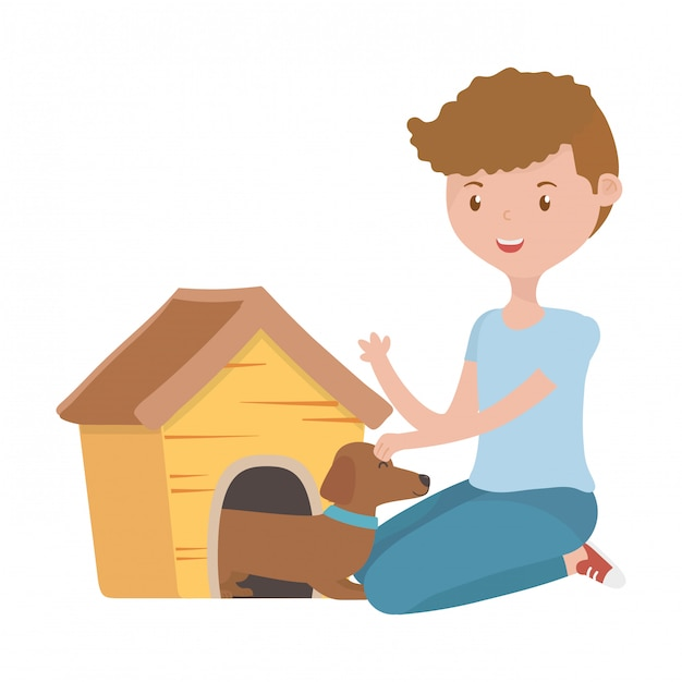 Boy with dog of cartoon Free Vector