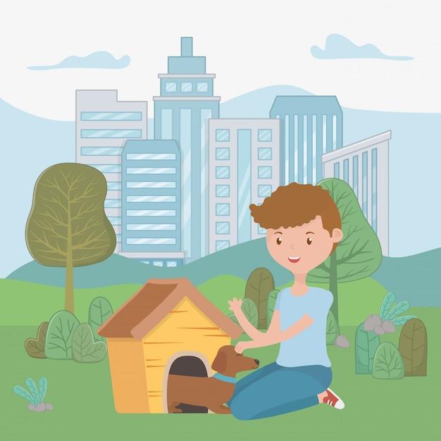 Boy with dog of cartoon Free Vector