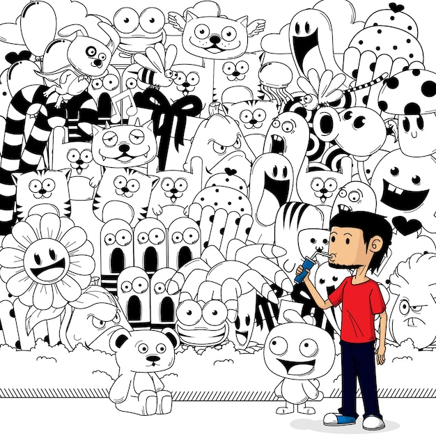 A boy with doodle background Premium Vector
