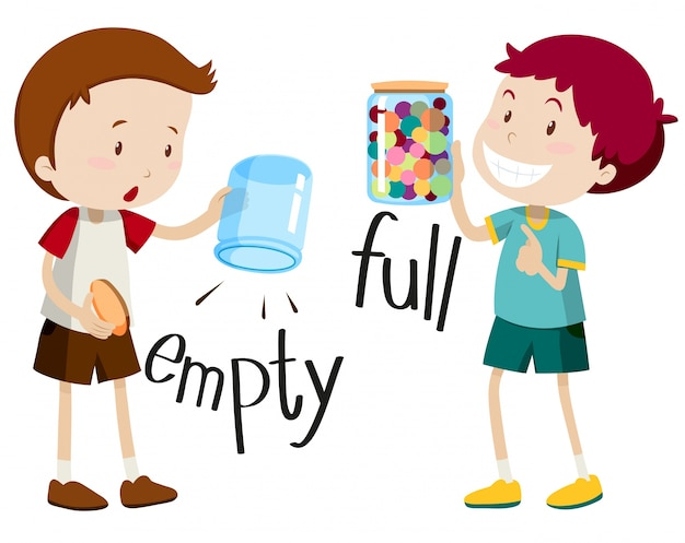 Boy with empty jar and boy with full jar Free Vector