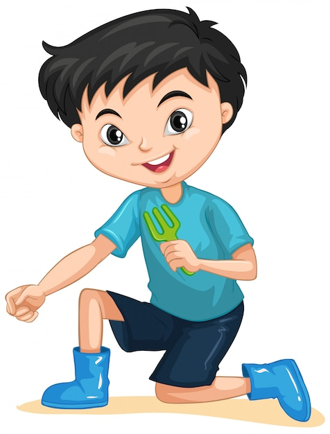 Boy with gardening fork on isolated Free Vector