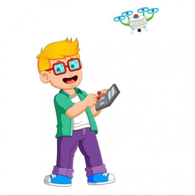 The boy with the glasses is playing with drone Premium Vector