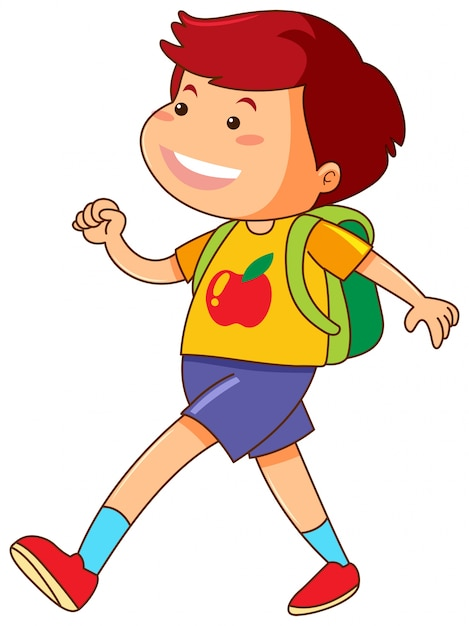 Boy with green backpack walking Free Vector