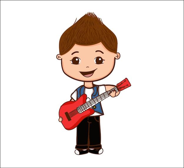 Boy With Guitar Premium Vector