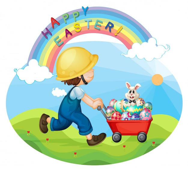 A boy with a helmet pushing the eggs and the bunny Premium Vector