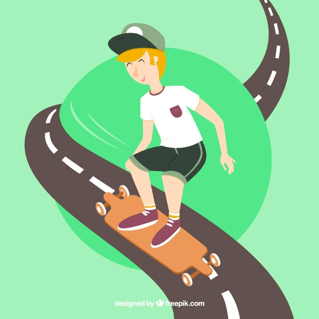 Boy with his skateboard on the road