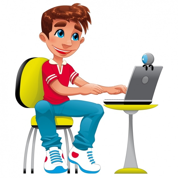 Boy with a laptop design | Free Vector