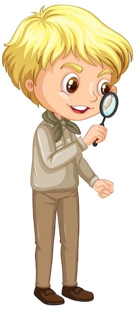 Мальчик с увеличительным стеклом на белом Бесплатные векторы