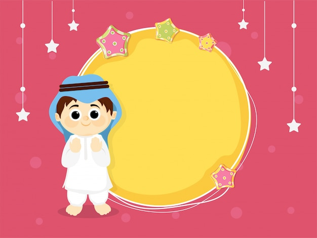 boy with moon and stars background Free Vector