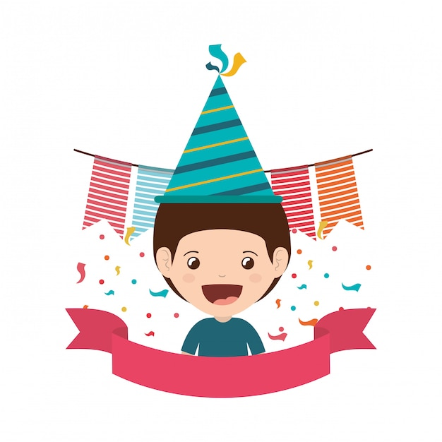Boy with party hat in birthday celebration Premium Vector