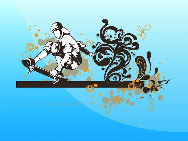 Boy with skateboard grunge vector