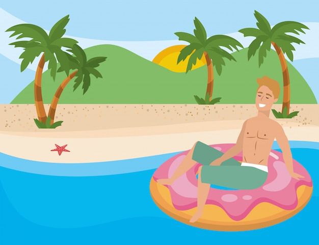 Boy with summer swimwear Free Vector