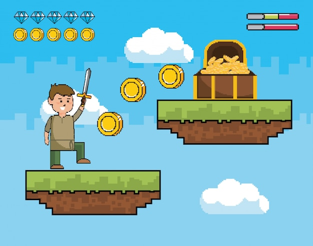 Boy with sword and coins inside of coffer with life bars Free Vector