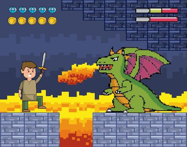 Ragazzo con spada e drago sputa fuoco e barre della vita Vettore gratuito