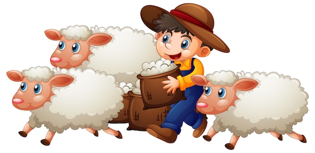 A boy with three cute sheep on white background Free Vector